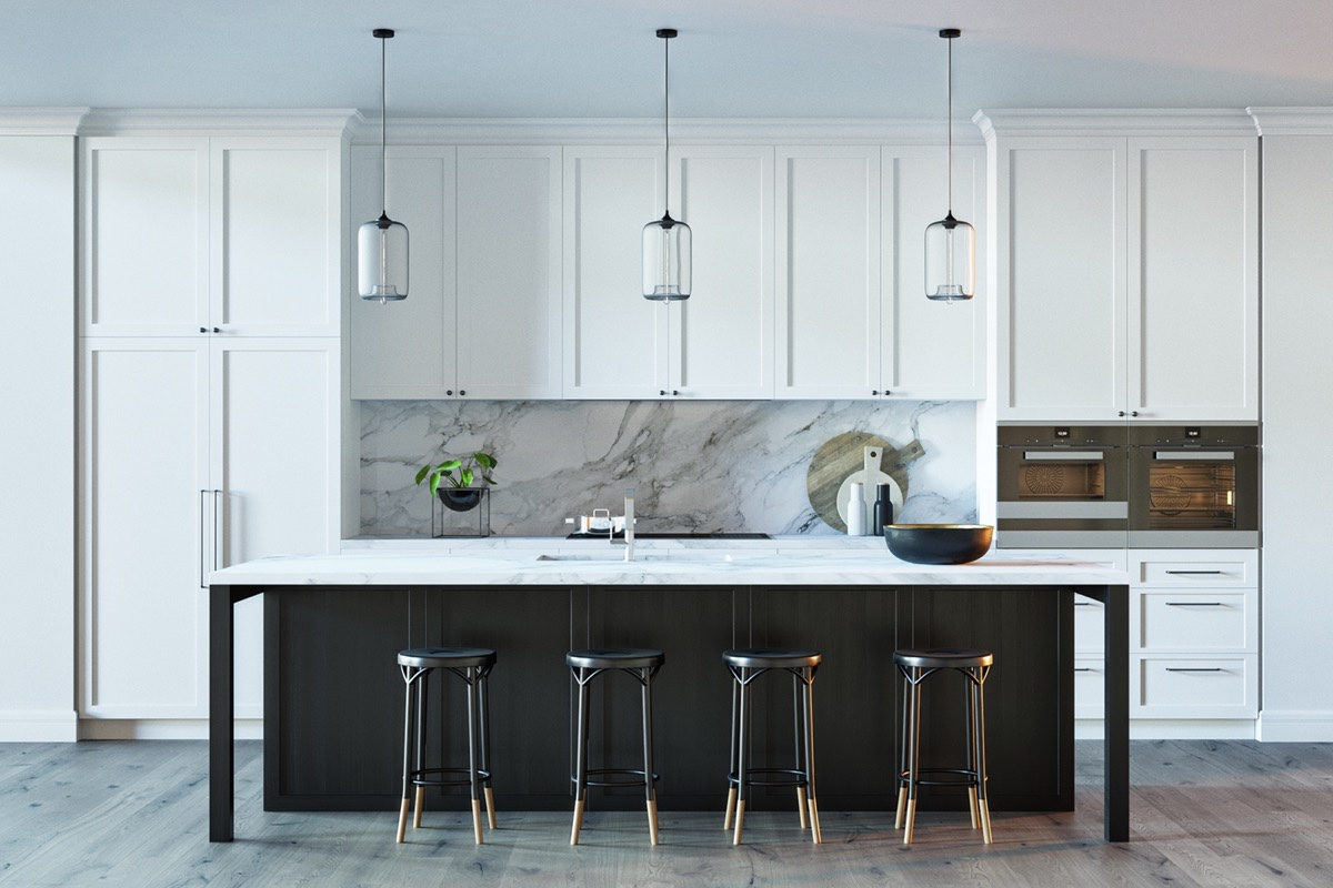 white-black-and-wood-marble-kitchen