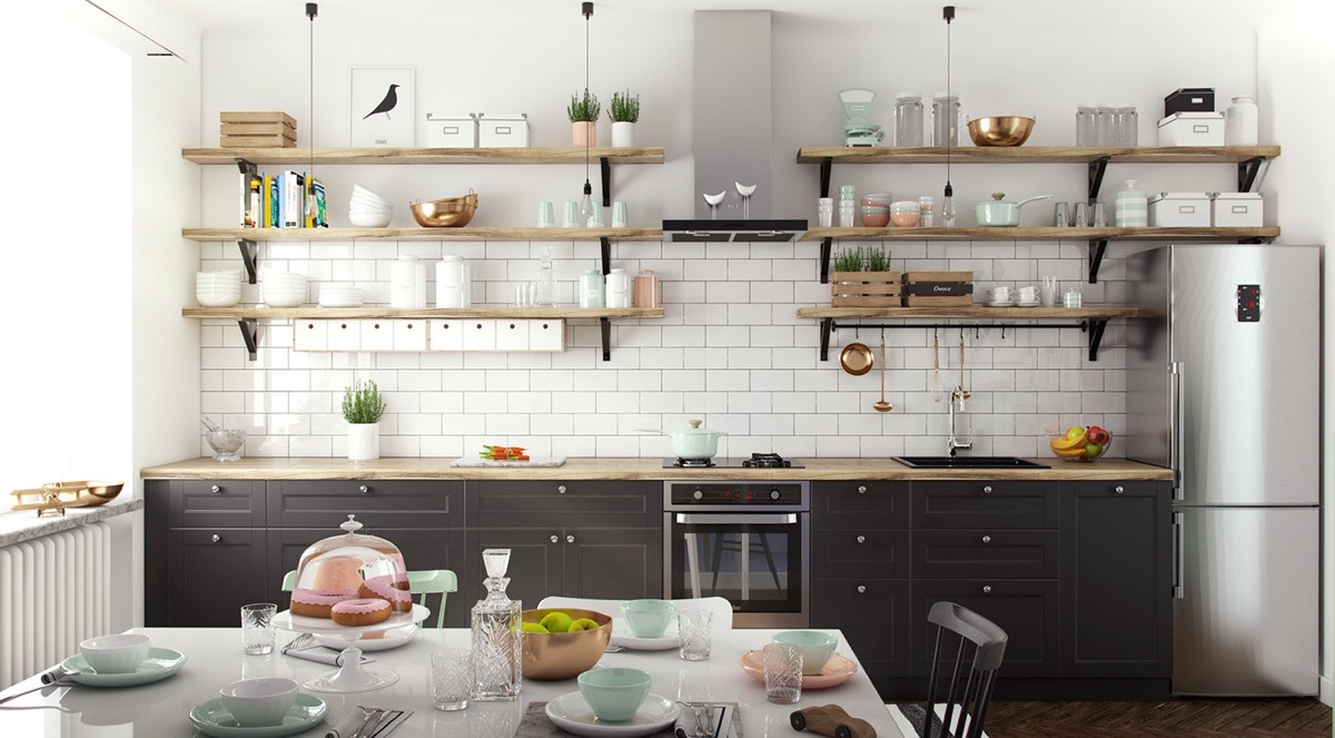 white-exposed-brick-wall-Scandinavian-open-shelving-kitchen