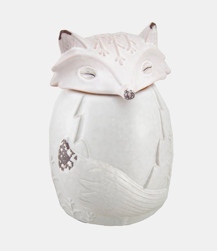 white-fox-shaped-biscuit-jar
