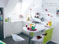 white-kitchen-childrens-artwork-green-cabinets