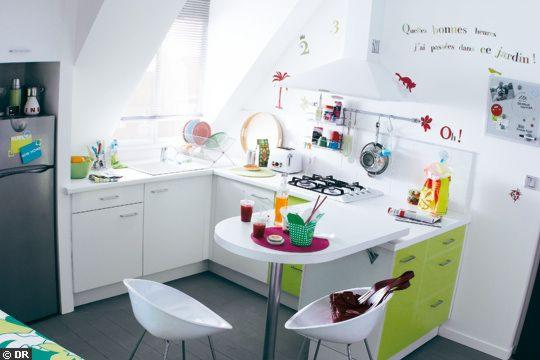 white-kitchen-childrens-artwork-green-cabinets