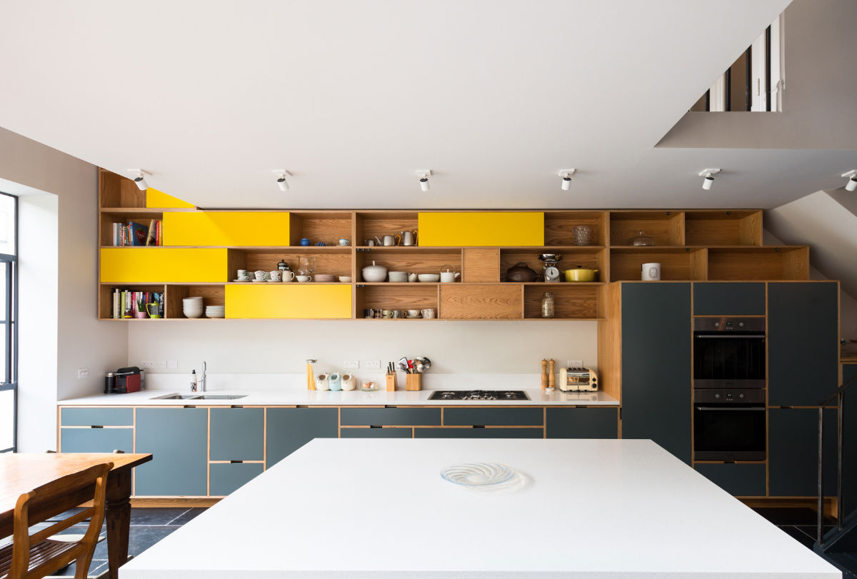 wood-and-mustard-painted-open-shelving-kitchen