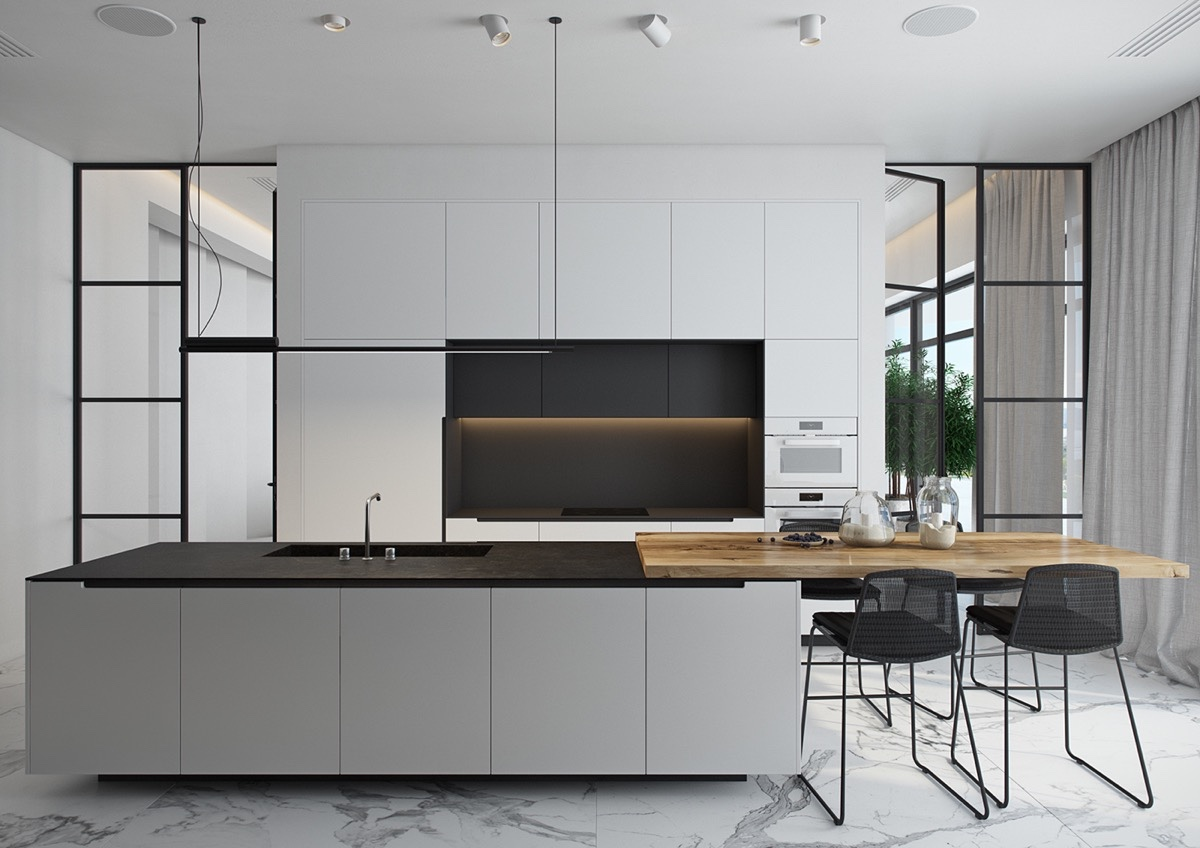 wood-island-in-black-and-white-kitchen
