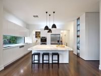 wooden-floor-black-fixtures-marble-kitchen