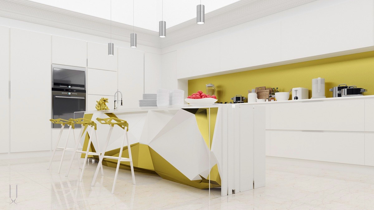 yellow-accent-kitchens-with-kitchen-island