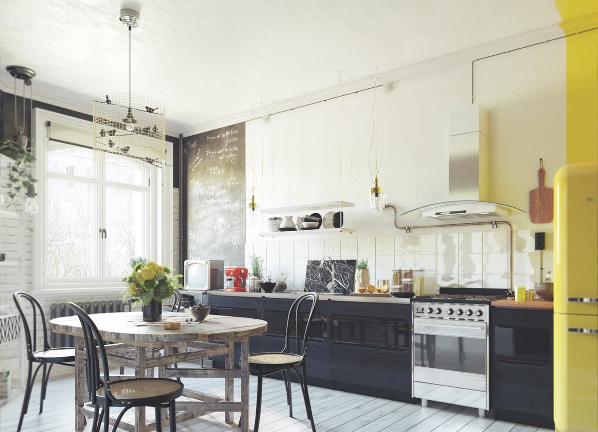 yellow-accents-kitchen-black-cabinetry-wooden-chairs