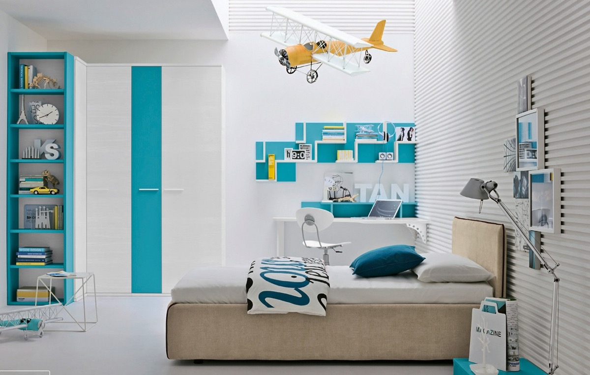 yellow-plane-turquoise-blue-bedroom