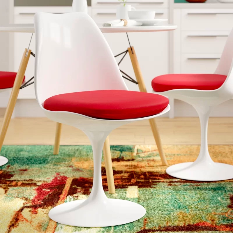 1950s-Ktichen-Chair-White-And-Red-Tulip-Chair-Swivel-Retro