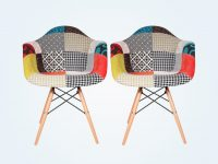 Colorful-Patchwork-Kitchen-Chairs-With-Wood-Eiffel-Base-Eclectic-Armchair