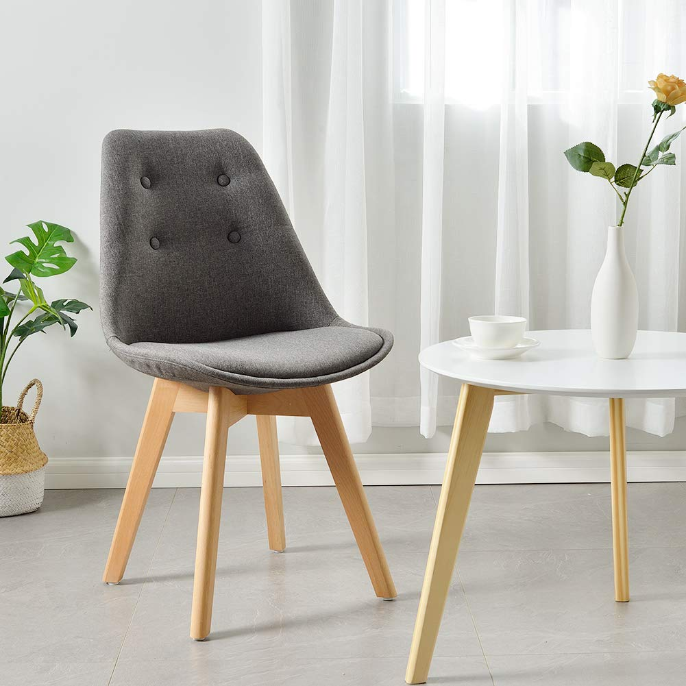Comfortable-Grey-Padded-Kitchen-Chair-With-Wood-Legs-Armless