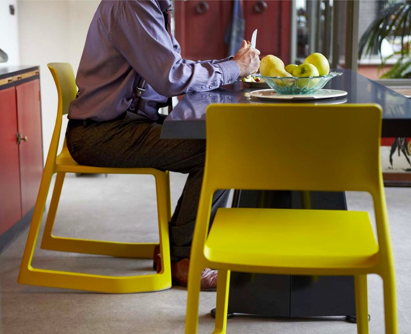 Ergonomic-Front-Tiltable-Kitchen-Chair-Bright-Yellow-Seating-Dining-Table