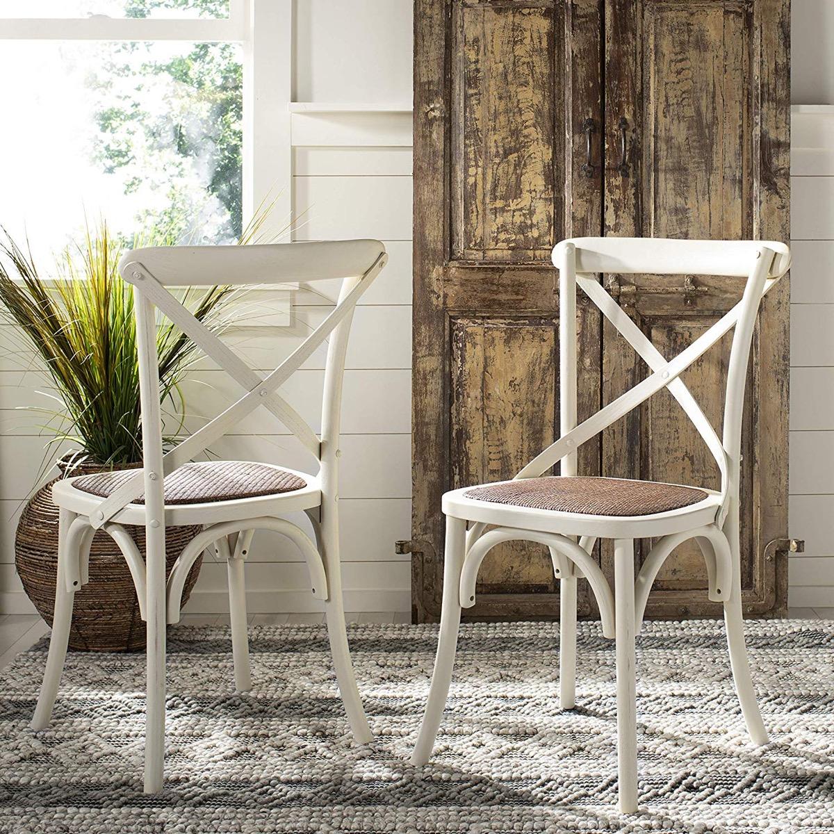 Farmhouse-Style-Antique-Kitchen-Chair-white-Finish-Burlap-Seat