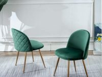 Green-Kitchen-Chairs-Velvet-Uphulstered-Diamond-Quilt-Gold-Legs-Mid-Century-Modern