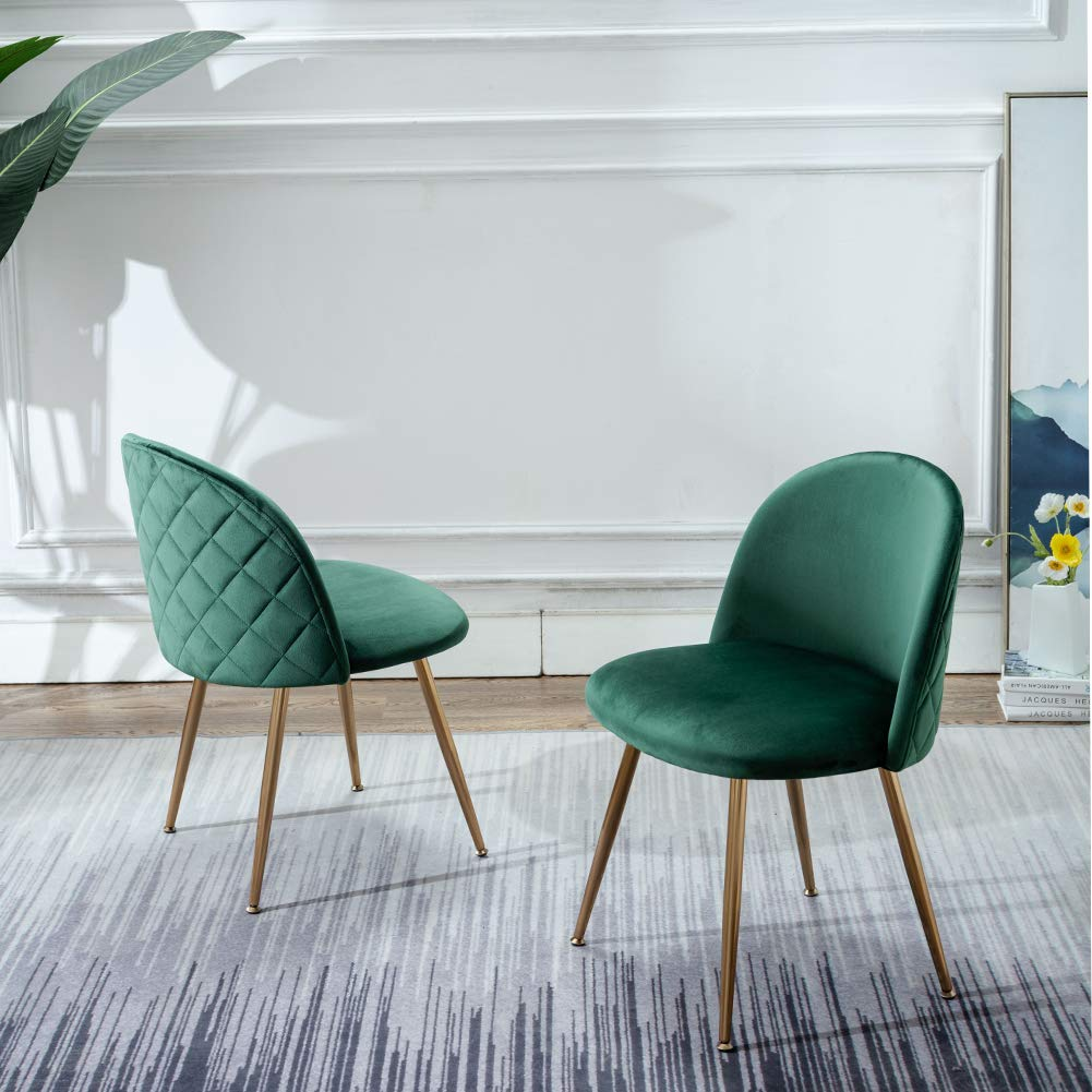 Green-Kitchen-Chairs-Velvet-Uphulstered-Diamond-Quilt-Gold-Legs-Mid-Century-Modern