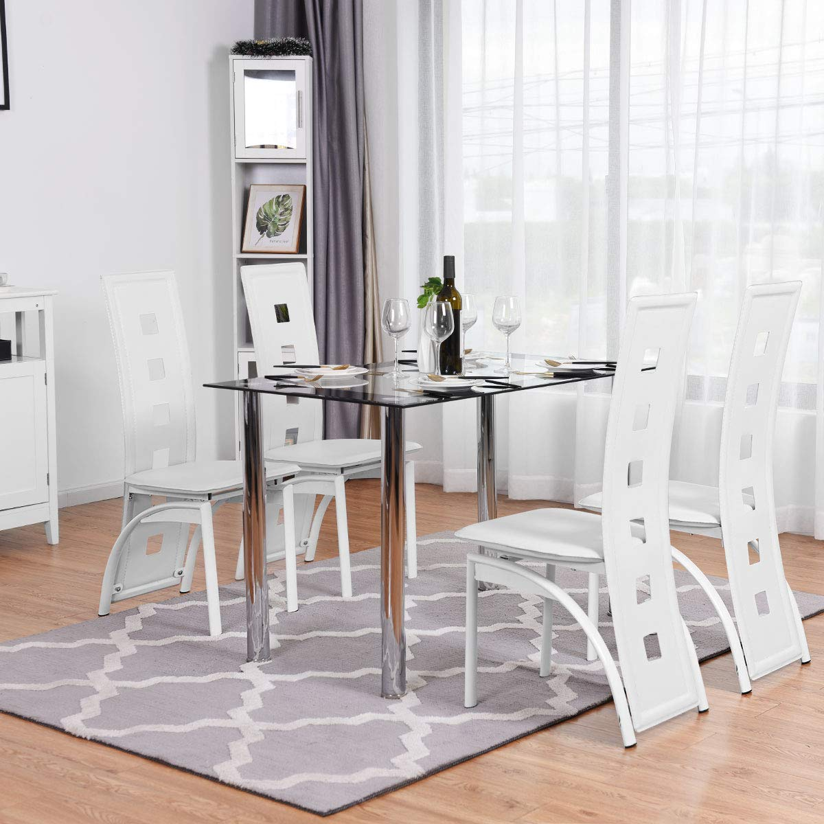 High-Back-Kitchen-Chairs-White-Contemporary-Dining-Chairs-with-Large-Back