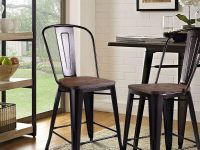High-Chairs-For-Kitchen-Island-Wood-And-Metal-Black-And-Dark-Walnut