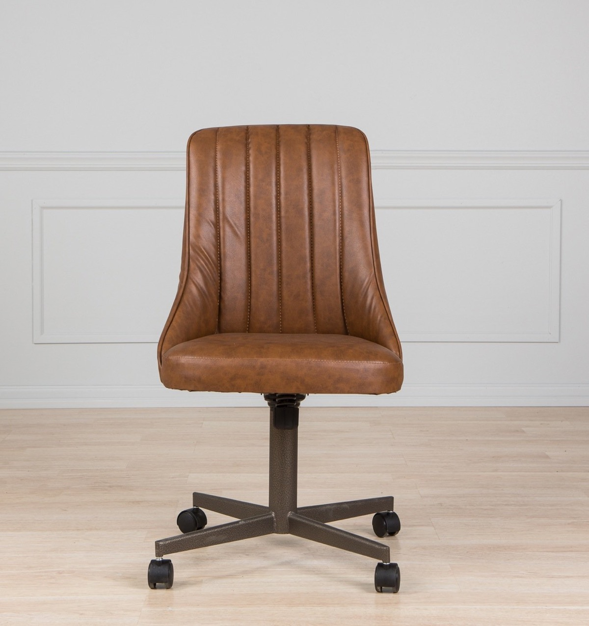 Kitchen-Chair-With-Casters-Brown-Leather-Rolling-Seating-Armless