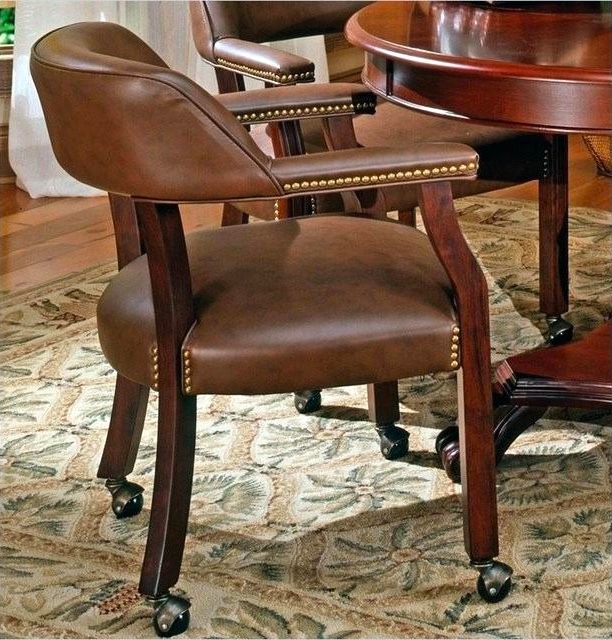 Kitchen-Chairs-With-Wheels-And-Armrests-Dark-Brown-Armchair-Dining