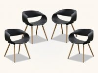 Modern-Black-Kitchen-Chairs-Unique-Bucket-Seat-With-Wood-Legs-And-Arms