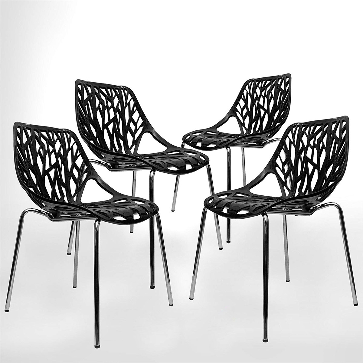 Modern-Kitchen-Chair-Set-Of-4-Black-Plastic-Metal-Legs-Silver-Stainless