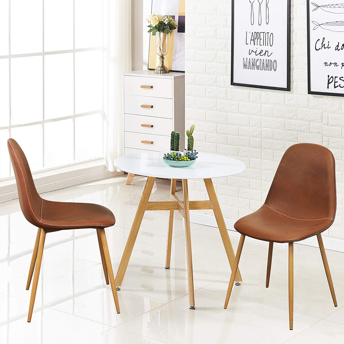 PU-Leather-Kitchen-Chairs-Brown-Faux-Armless-Chairs-Wood-Legs