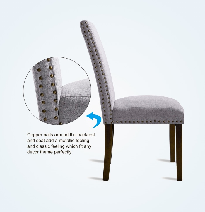 Padded-Kitchen-Chair-Parsons-With-Copper-Nail-Trim-And-Black-Legs