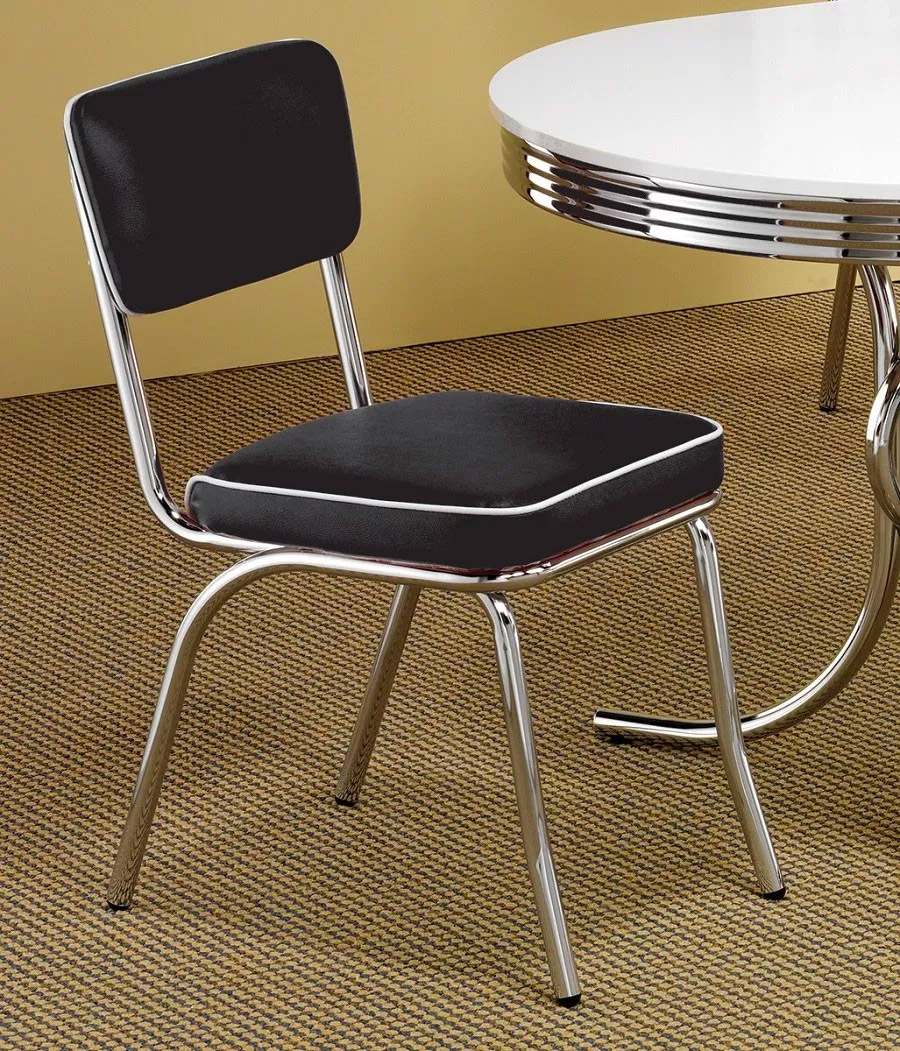 Retro-Chrome-Kitchen-Chair-With-Black-Seat-And-Stainless-Legs-Silver