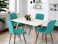 Teal-Kitchen-Chairs-With-Dark-Brown-Legs-Mid-Century-Modern-Seating-Colorful
