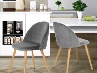 Upholstered-Velvet-Kitchen-Chairs-Armless-Grey-Modern-Seating