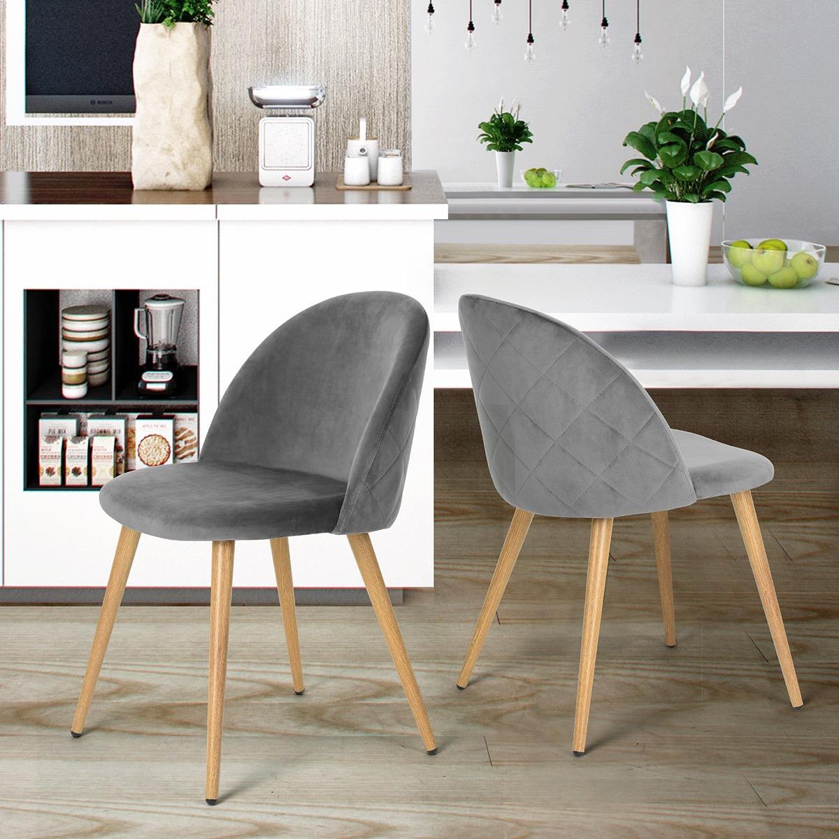 Upholstered-Velvet-Kitchen-Chairs-Armless-Grey-Modern-Seating