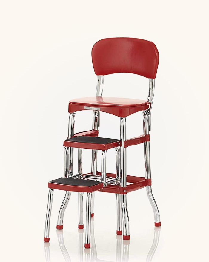 Vintage-Kitchen-Step-Stool-Chair-Red-Glossy-Retro-Kitchen-Decor