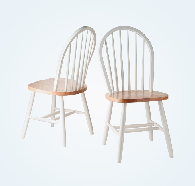 White-Wood-Kitchen-Chairs-With-Rounded-Spindle-Back-Solid-1