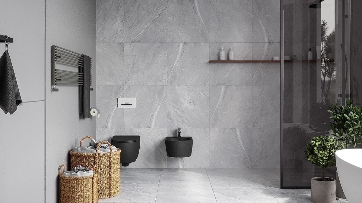 black-toilet-and-bidet-set