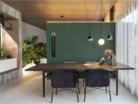 green-and-black-dining-room