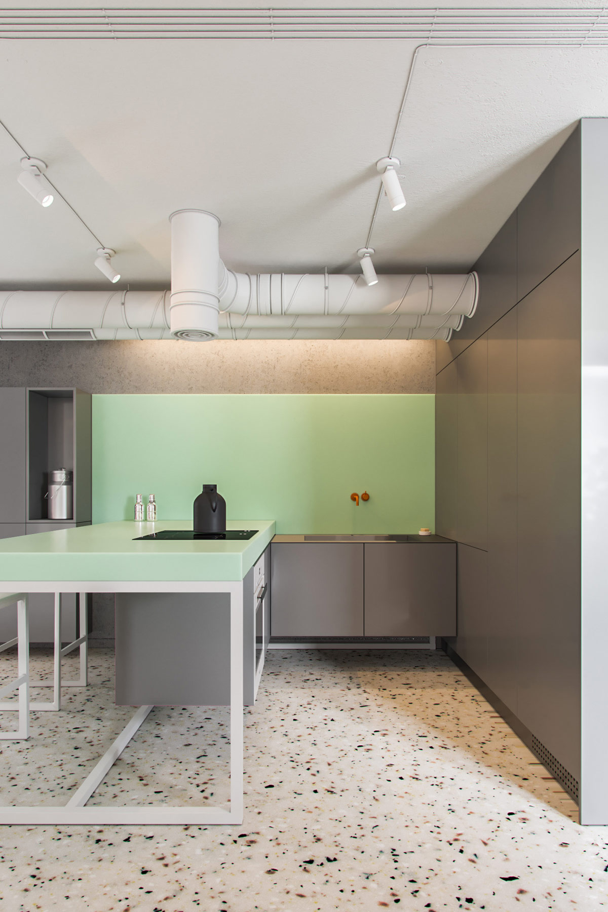 grey-and-green-kitchen