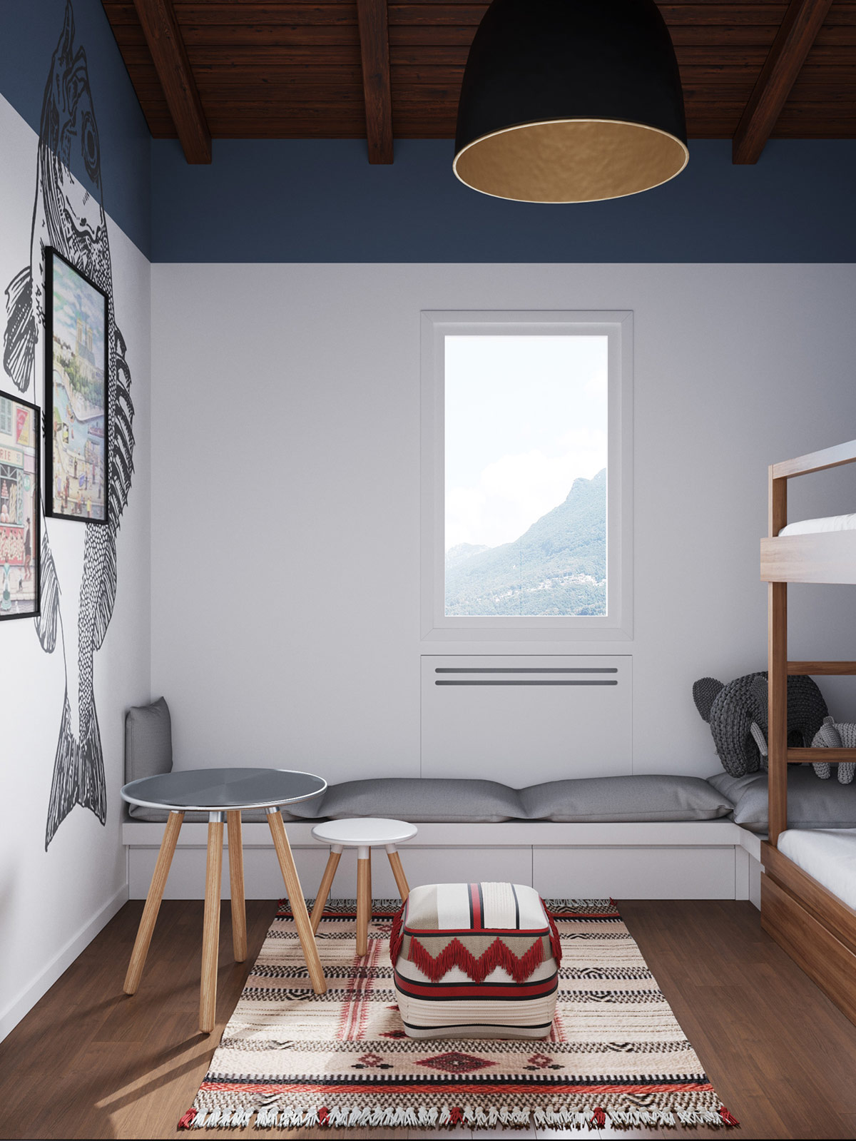 grey-and-red-bedroom