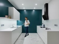 white-and-teal-galley-kitchen