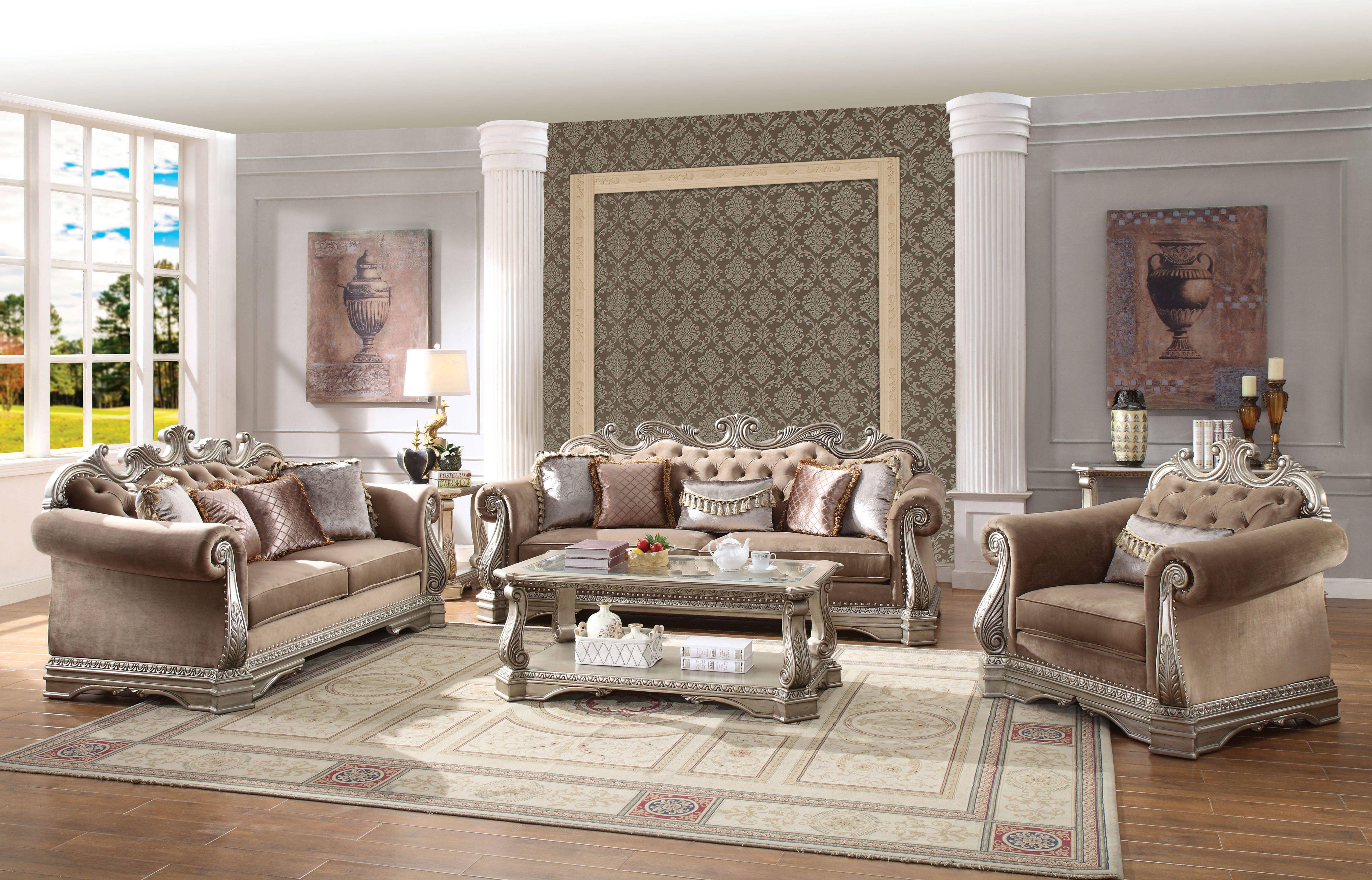 Acme Furniture Northville Antique Champagne 3Pc Living Room Set with Living Room Furniture Sets