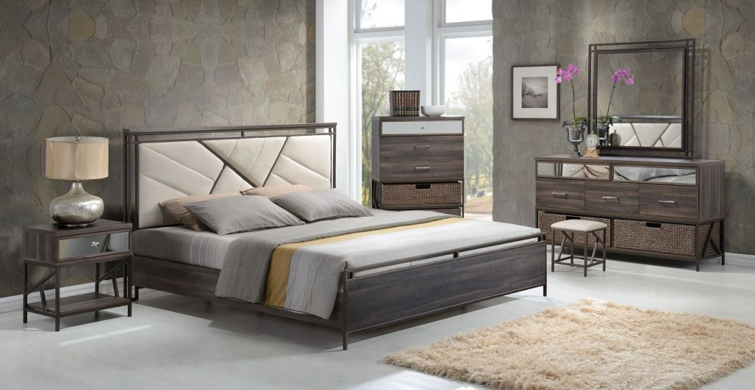 Adrianna 20950 Walnut Finish Cream Fabric Bedroom Set, Contemporary in Elegant Contemporary Bedroom Sets