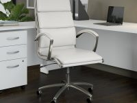 Bush Business Furniture Studio C High Back Leather Executive Office regarding White Leather Office Chair