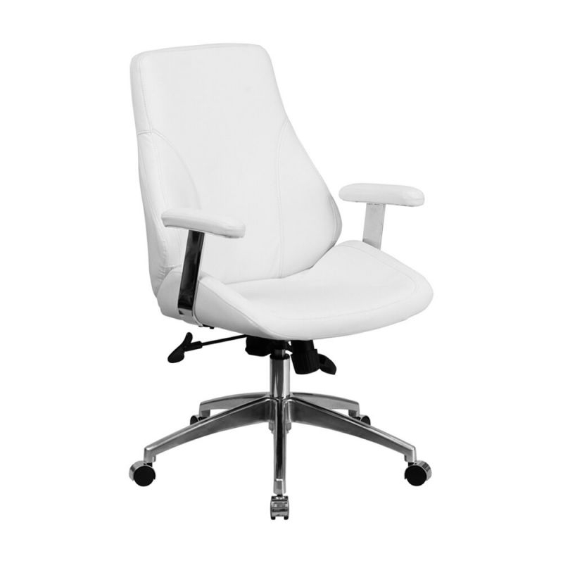Clickhere2Shop: Flash Furniture Mid-Back White Leather Executive for White Leather Office Chair