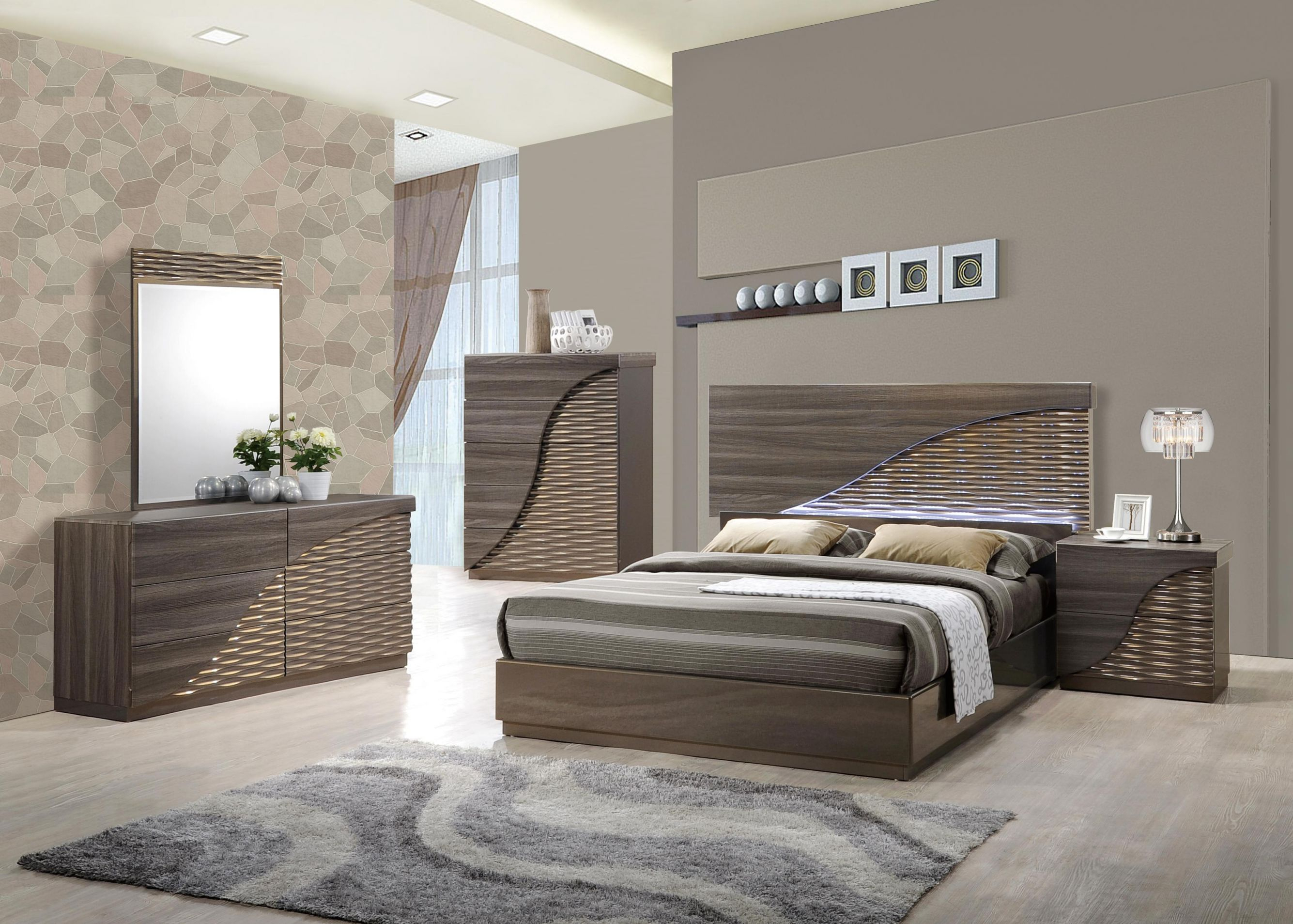 Contemporary Gold Zebra Led Bedroom Set Houston Texas Global-North for Elegant Contemporary Bedroom Sets