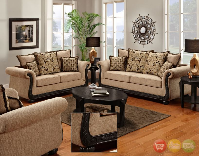 Delray Traditional Sofa Loveseat & Chair 3Pc Living Room Furniture within Unique Living Room Furniture Sets