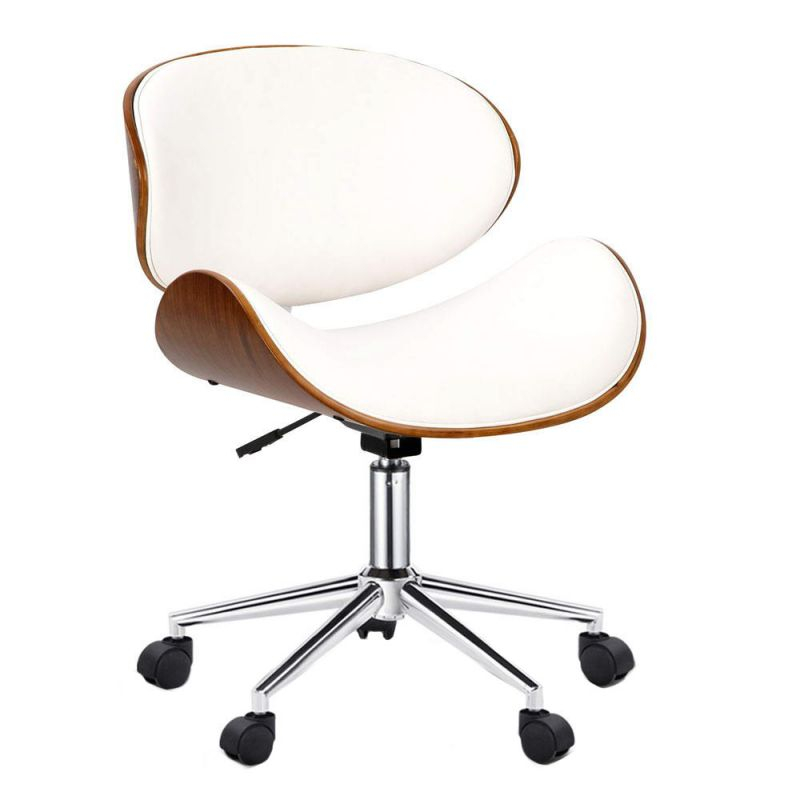 Dwellhome White Bentwood Wings Faux Leather Office Chair & Reviews pertaining to Elegant White Leather Office Chair