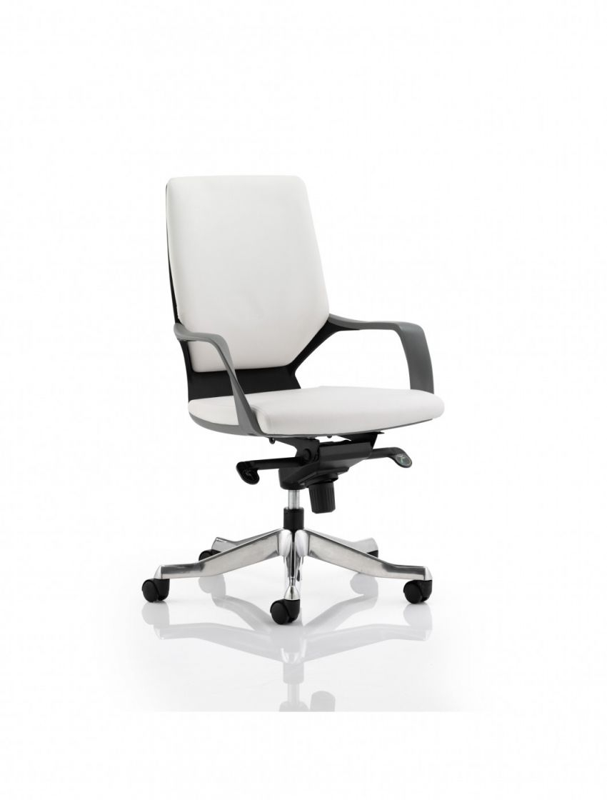 Dynamic Xenon White Leather Executive Chair With Black Shell | 121 for White Leather Office Chair