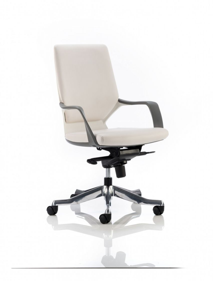 Dynamic Xenon White Leather Executive Chair With White Shell | 121 pertaining to Elegant White Leather Office Chair
