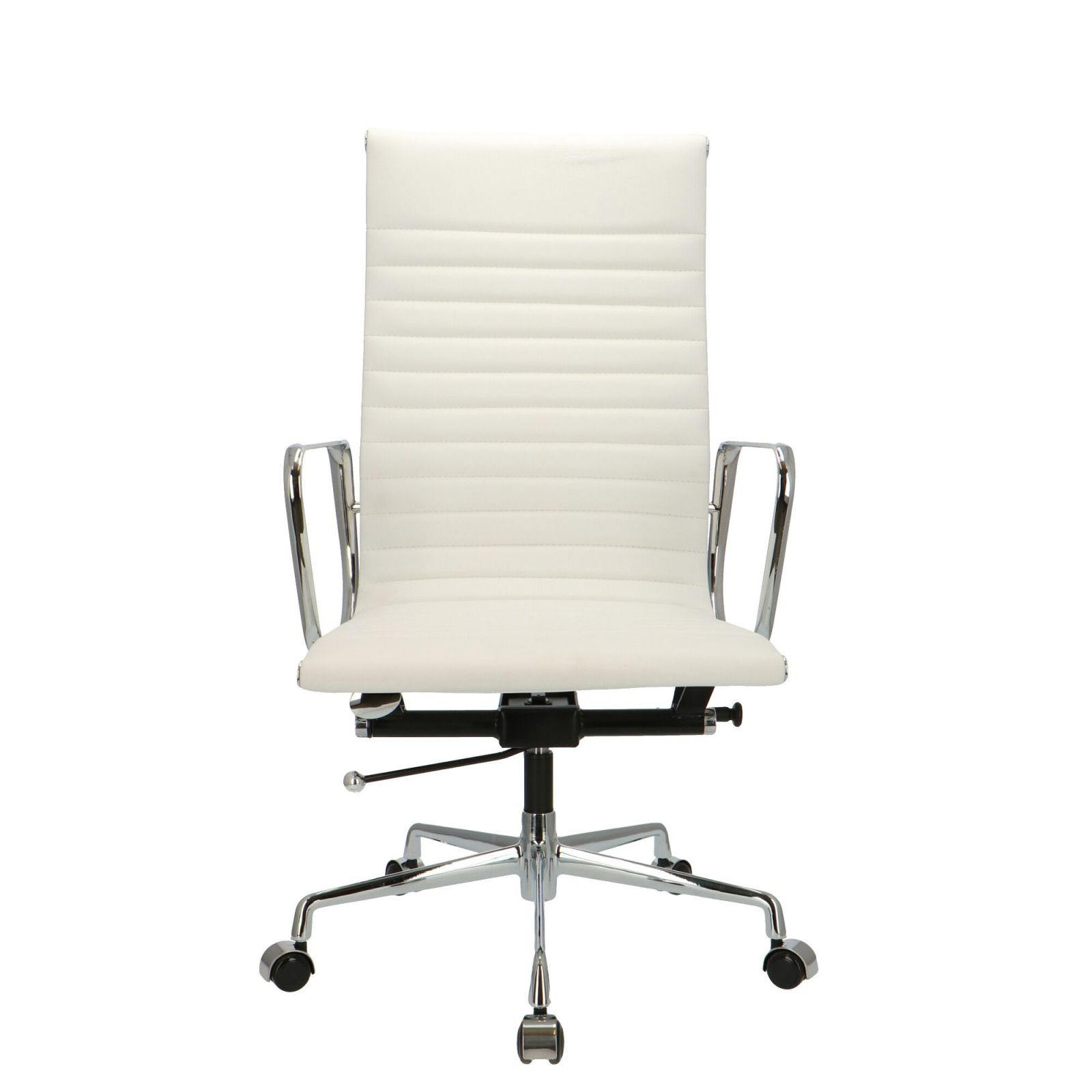 Eames Office Chair Ea 119 White Leather | Popfurniture throughout White Leather Office Chair