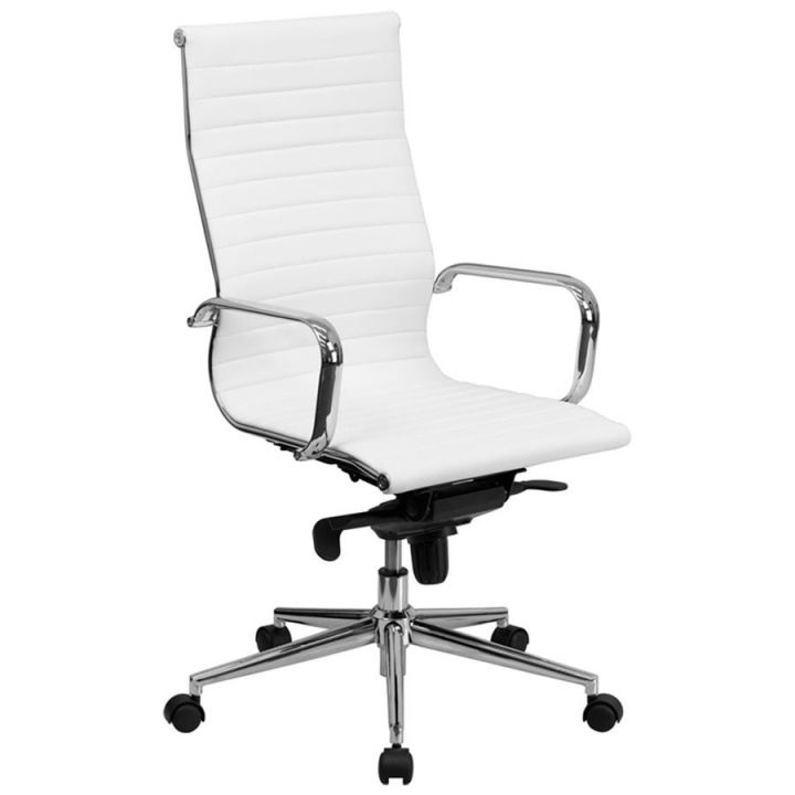 Flash Furniture Bt-9826H-Wh-Gg High-Back White Ribbed Leather intended for Elegant White Leather Office Chair