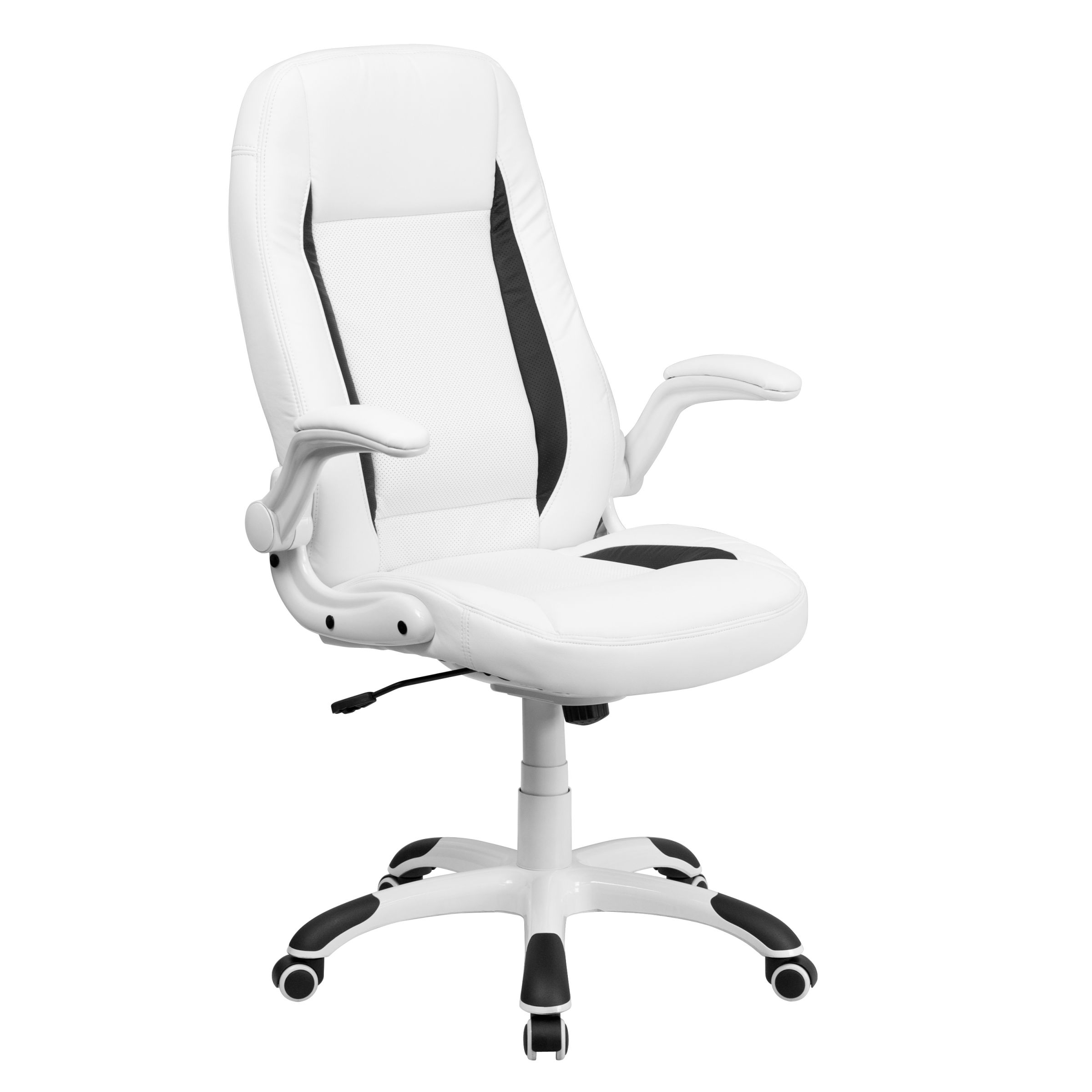 Flash Furniture High Back Leather Executive Office Chair With Flip for Elegant White Leather Office Chair