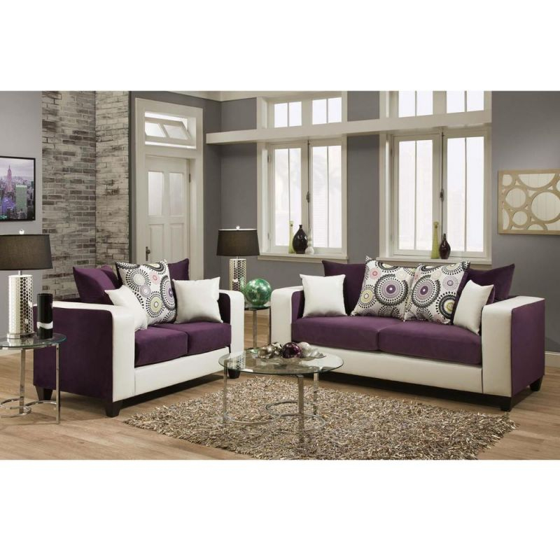 Flash Furniture Riverstone Implosion 2-Piece Purple Velvet Living within Unique Living Room Furniture Sets
